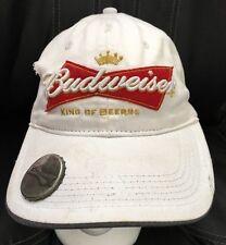 Budweiser Beer White Brim Mounted Bottle Cap Opener Snap Back Hat