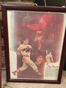Stan Musial St. Louis Cardinals Signed Framed 18x24 Coca Cola LithoHOF 69