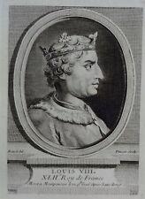 Antique Print Gravure Portrait LOUIS VIII, XLIIe Roy de France Boizot Pinssio