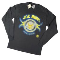 Vintage Y2k US Navy Military Long Sleeve T Shirt Graphic Seal NWT Medium Delta