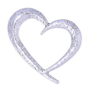Lagenlook Statement Silver tone Hammered Effect Heart Brooch Pin