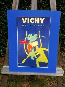 alter Reklame Druck Bild hinter Passepartout Vichy Paris Paul Colin 50x40cm 21