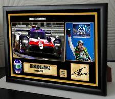 Fernando Alonso le Mans lienzo enmarcado de 24 2018 impresión firmada Gran Regalo Souvenir