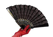 Black Lace Fan for Victorian Flapper 20s Fancy Dress Accessory
