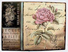 Blechschild Rosen Pfingstrose Belle Fleur rosa Vintage Shabby Stil