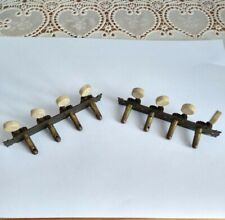 More details for rare antique mandolin machine heads, real bone key pegs/tuners.