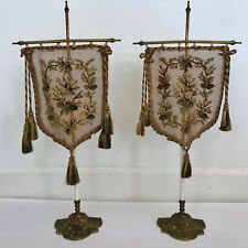 SET OF 2 ANTIQUE VICTORIAN  NEEDLEPOINT POLE FIREPLACE FACE SCREENS & STANDS