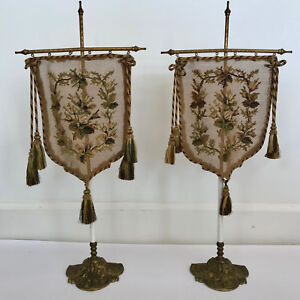 SET OF 2 NEEDLEPOINT POLE FIREPLACE FACE SCREENS & STANDS, ANTIQUE CIRCA 1800'S