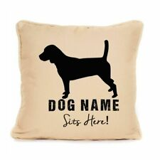 More details for gift for dog beagle dog personalised sits here cushion present for dog lover