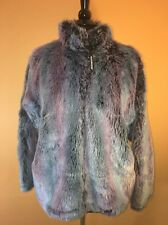 Black Mountain Outdoor Faux Fur Multi Color Winter Jacket Medium Purple Blue