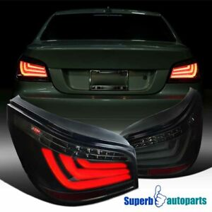 For 2008-2010 BMW E60 5-Series Sedan Glossy Black Smoke LED Bar Tail Brake Light