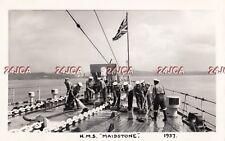 "ORIGINAL Photograph Royal Navy. HMS ""Maidstone"" Submarine depot ship. Deck. 1957"
