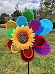 Rainbow Sparkle Double Flower pinwheel spinner