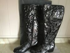 Ladies Black Leather Shiny  Moc Croc Long Boot Size 5 Brand New made in Spain