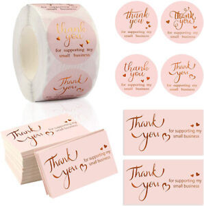 50/500Pcs Thank You For Supporting My Small Business Cards / Sticker Labels Pink
