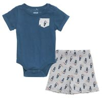 2 Pc Chick Pea Baby Boys Outfit, Size 0-3 Months, Shorts, Bodysuit, Blue, Summer