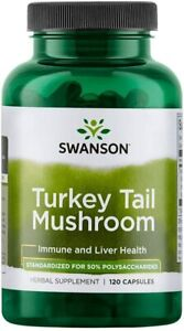 PREMIUM Turkey Tail Mushroom Swanson 1000mg 120Caps IMMUNE CELLULAR LIVER HEALTH