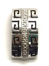 Sterling Silver 925 Aztec Style Design Diamond Accent Textured - Pattern Pendant