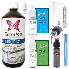 1 Liter E Liquid Base Vape Set 0/3/6/9/12/15/18mg Nikotin Shots 20mg 50/50 70/30