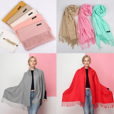XL Women Soft Pashmina Silk Classic Solid Cashmere Wool Shawl Scarf Stole Wrap