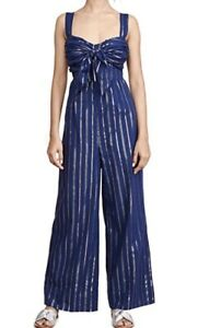 STEELE BNWT Pavlin Striped Midnight Blue Jumpsuit With Tie Front Size S