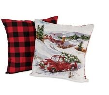"""NEW Mainstays CHRISTMAS RED TRUCK & BUFFALO CHECK 17"""" X 17"""" Pillows Set of 2"""