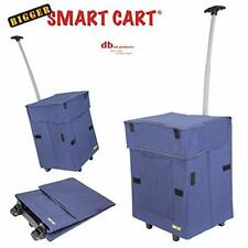 Bigger Smart Cart, Blue Collapsible Rolling Utility Cart Basket Grocery Shoppin