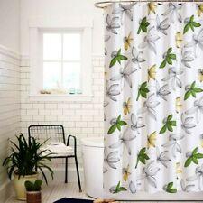 Fabric Bath Shower Curtain 3D Flower Printed Bathroom Waterproof Ring Home Decor
