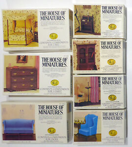 Lot of 7 The House of Miniatures Dollhouse Furniture Kits Chippendale+ Bed Sofa+