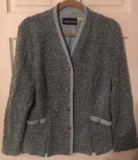 Womens Size 14 Sag Harbor Blue Knit Button Down Wool Blend Blazer/Jacket!