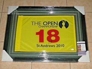 Louis Oosthuizen signed 2010 British Open WNNER FRAMED PGA Pin Golf Flag JSA