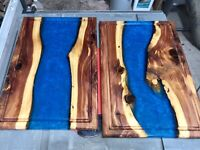 """HANDCRAFTED Flowing River Cutting Board 18x12"""" Cedar & Resin w/Juice Grooves NEW"""