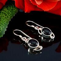 verführerischer schwarzer Onyx 925 Sterling Silber schwarzer Ohrring echtes DE