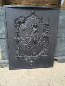 ANTIQUE CAST IRON FIREPLACE COVER ART NOUVEAU PARTIALLY NUDE LADY CHERUBS LOVELY