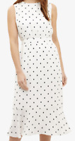 Phase Eight Alison Spot Dress Ivory/Black Womens UK 16
