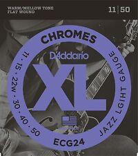 Electric Guitar Strings  D'Addario ECG24 Chromes  Jazz Light   1 Set