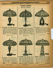 "1926 PAPER AD Electric Table Lamps Art Glass Slag Lighted Base 8 Panel 19.5"" 24"""