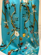 100% Mulberry Silk Satin Scarf ~ Birds Butterflies & Flowers on Turquoise Blue