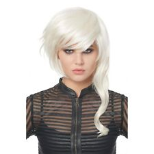 Women's Fantasy Girl Costume Wig White Futuristic Punk Rocker Festival Adult
