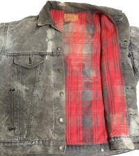 vtg Levi's GRAY DENIM Red Buffalo Flannel JACKET M/L Jean 70417 usa 80s DISTRESS