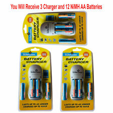 3pk Rechargeable AA & AAA Battery Charger with 4 AA NiMH Rechargeable Batteries