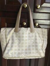 Authentic Chanel cc new line cream white jacquard nylon/leather tote bag