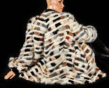 XL 2XL 3XL Bunte Nerzjacke gestreift weiß Pelzjacke Pelz Nerz mink fur jacket