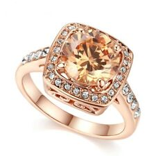 Rose Gold Plated Champagne Gold Cubic Zircon White Austrian Crystal Ring Size 10
