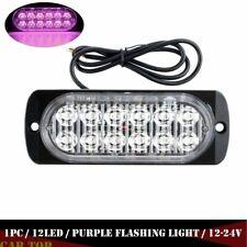1X Purple 12 LED Car Emergency Hazard Warning Beacon Strobe Flash Lights Bar 36W