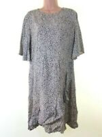 BNWOT NEXT cream & black cheetah print frill trim tea dress plus size 20 eu 48