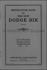 1936 Dodge Car D2 Six Owners Manual Owner Instruction User Guide Book