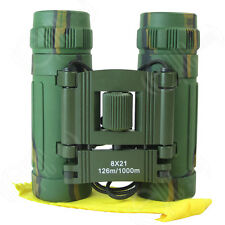 New Lightweight WOODLAND CAMO BINOCULARS Army Pocket Military Camouflage Green