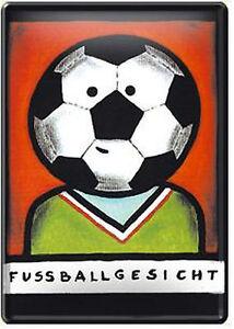 Nostalgic Art Metal Postcard Fußballgesicht Football Foot Ball Fan Ballgesicht