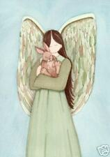 Rabbit  (bunny hare) with Angel / Lynch signed folk art print